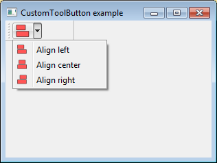 QToolButton with a drop-down menu that displays the last action