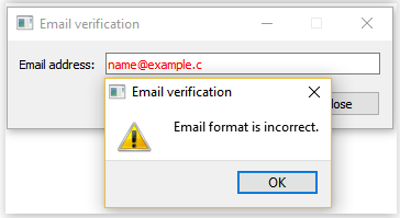 Email format verification with QValidator