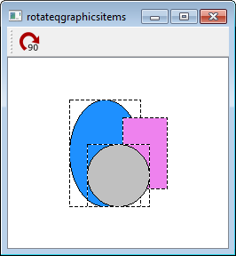 Rotate a collection of QGraphicsItems around the center of